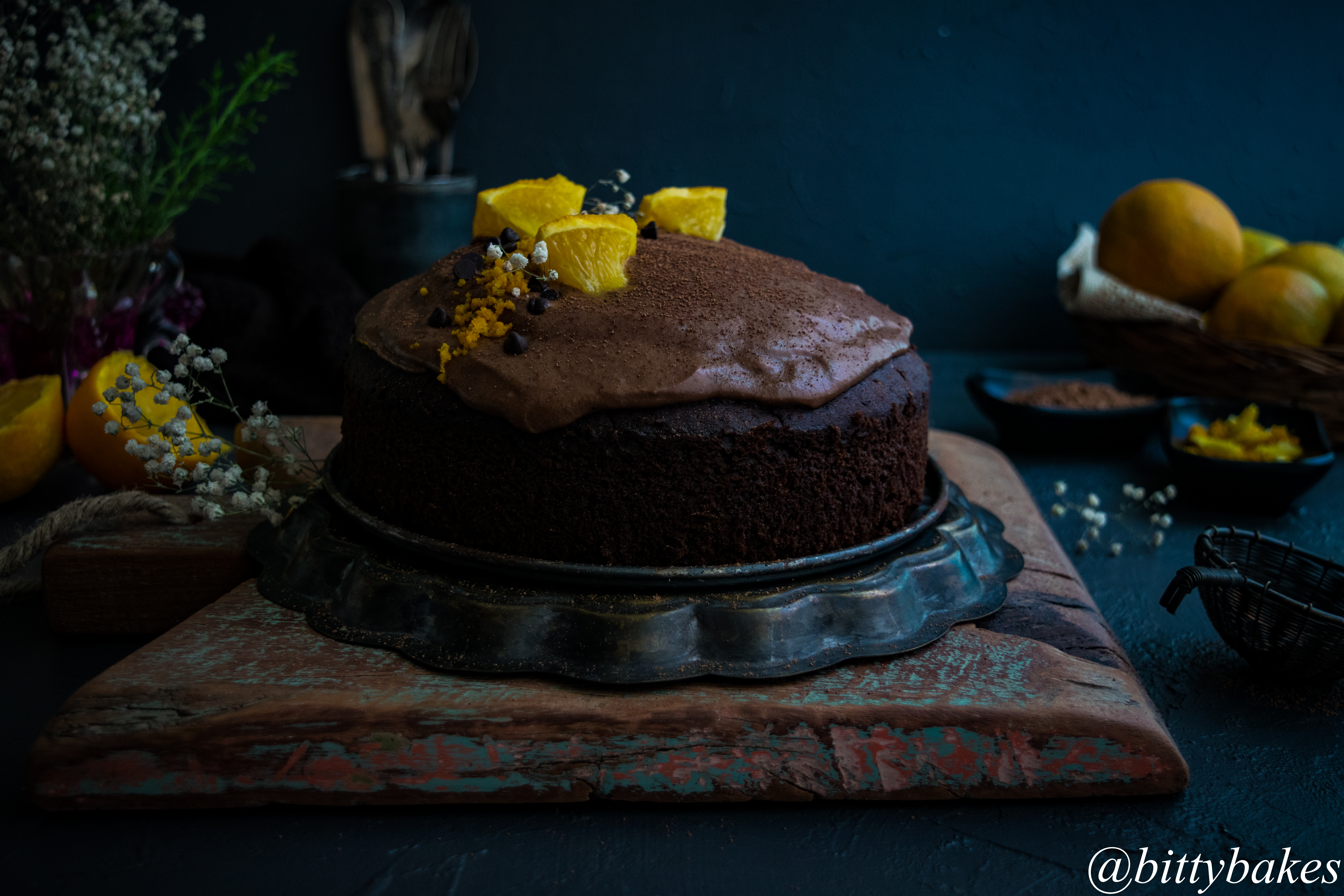 Orange Chocolate Cake with Chocolate Cream cheese Frosting